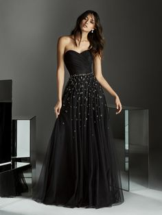 Discover our Pronovias Wedding Dress Collection. View our amazing selection of unique bridal dresses and gowns featuring the latest trends. Black Tulle Dress, Tulle Gown, Dress Up, A Line Evening Dress, Evening Dresses, Black Cocktail Dress, Occasion Dresses, Dress Collection, Homecoming Dresses