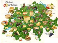 "What Americans call ""Swiss Cheese"" is just one of dozens of distinct cheeses found in Switzerland. Cheese map proves that cheese is a major part of life. Zurich, Winterthur, Zermatt, Art Du Vin, Swiss National Day, Glacier Express, Spanish Cheese, Swiss Miss, Swiss Style"