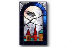 """Stained glass panel """"Autumn in Krakow with Raven #2""""   Richard Morawiec (Atelier Colour Distillery)"""