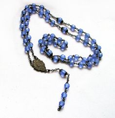 Vintage 1920s Rosary Beads Blue Glass Czech Sautoir Necklace (no cross) from Morning Glorious
