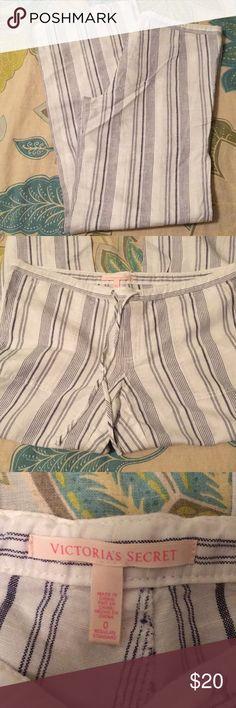 VS linen pants blue & white striped linen pants. new without tags, never worn.  smoke free home. Victoria's Secret Pants