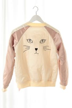 OASAP - Cat Print Baseball Jacket - Street Fashion Store