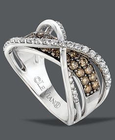 Le Vian Diamond Ring, 14k White Gold White and Chocolate Diamond Crossover Ring