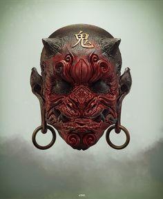 -ONI- From the travels of Abraham van Helsing a shrunken ONI head. Arte Horror, Horror Art, Mascara Oni, Kabuto Samurai, Japanese Demon Mask, Sculpture Art, Sculptures, Oni Mask, Armadura Medieval