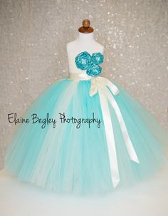 Summer Breeze Flower Girl Tutu Dress  Tiffany by Grandmasbabyplace, $70.00