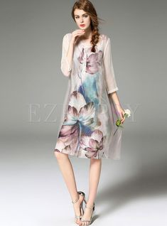 Shop for high quality Stylish Ink Print Organza Shift Dress online at cheap prices and discover fashion at Ezpopsy.com