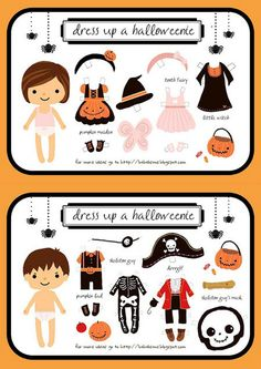 How to make adorable paper doll activities with these free printable pages. These paper dolls include Princess Dolls, print and color, American Girl Doll, as well as fun dress ups accessories for your little girl. Paper dolls have passed the test of time… Diy Halloween, Moldes Halloween, Theme Halloween, Halloween Activities, Holidays Halloween, Craft Activities, Halloween Printable, Halloween Dress, Halloween Clothes