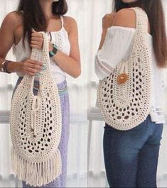Beautiful version of handbags for summer crochet. Bag Crochet, Crochet Market Bag, Tunisian Crochet, Patron Crochet, Crochet Halter Tops, Handmade Purses, Custom Bags, Knitted Bags, Purses And Bags