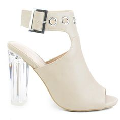 High Perspex Block Heel Bootie w Peep Toe & Large Ankle Buckle Name - Brand: Wild Diva Colors Available: Black, Natural (beige) Features: These peep toe sandal features a clear trans Open Toe Booties, Open Toe Shoes, Black Booties, Ankle Booties, Leather Booties, Dress Sandals, Dress Shoes, Natural High, Evening Sandals