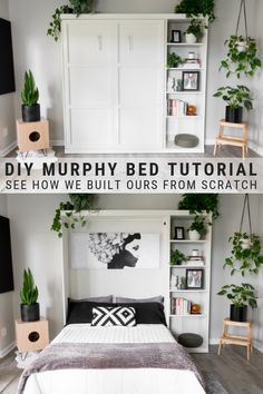 DIY Murphy Bed Plans & Our Modern DIY Murphy Bed! DIY Murphy Bed Plans & Our Modern DIY Murphy Bed!,DIY Decor DIY murphy bed tutorial, see how we built ours from scratch! Diy Furniture, Diy Bed, Bedroom Diy, Murphy Bed Diy, Home Decor, Diy Furniture Bedroom, Bed Hardware, Bed Plans, Guest Room Office