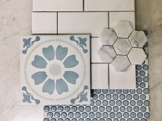 Cement look patterned tile, soft blue penny round, subway tile, marble hexagon homedecor tiles bathroomremodel bathroomdesign tilefloor is part of braids - braids Bathroom Renos, Master Bathroom, Home Reno, Bath Remodel, Bathroom Inspiration, My Dream Home, Home Projects, Home Remodeling, Home Improvement
