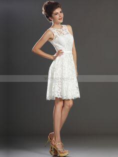 Allover Lace Sleeveless A Line Short Reception Dress