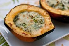 Broccoli Cheese Acorn Squash  I just made this, but threw 1/4 cup of quinoa in there for a little extra protein. It is delicious!