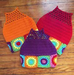 Sunflower Granny Square Festival Crochet Top by SharkbiteStitches Crochet Toddler, Crochet Baby Clothes, Crochet For Kids, Crochet Halter Tops, Crochet Crop Top, Crochet Bikini, Crochet Stitches, Knit Crochet, Knitting Patterns