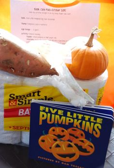 Baby (Toddler) Book Club Pals donation bag details including list of supplies and activity/snack instructions based on the book Five Little Pumpkins by Dan Yaccarino