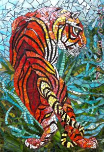 Tigre - Tiger in the jungle by Anne BEDEL - http://www.admiroutes.asso.fr/art/bedel/