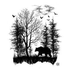 Wolf Forrest Moon AirRush MALEREI Wall Art Stencil