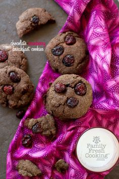 Chocolate Cranberry Breakfast Cookies | vegan recipe on FamilyFreshCooking.com