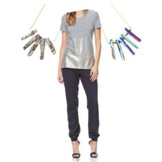 """""""Outfit Inspiration: Metallic Moments"""" by styleshack on Polyvore"""