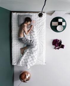 Sleeping on simple bedding