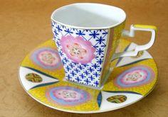 """Kutani """"Kaga flower"""" cup and saucer"""