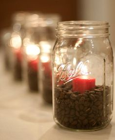 mason jars with candles and coffee beans..i have seen this idea before, but this pin is a reminder for me to actually do it!