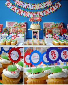 Candyland Birthday Party Table Display - SO CUTE! From the table and all the candy to the goody bags with toothbrushes. I really hope to do this one day :)