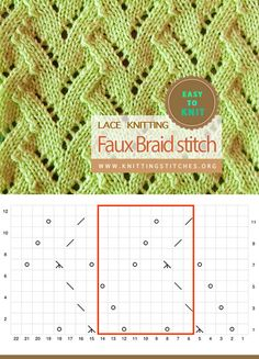 Faux Braid Lace Easy To Knit Lace Knitting, Knitting Stitches, Knitting Patterns, Faux Braids, Stitch Braids, Eyelet Lace, Slip Stitch, Knitting Projects, Crochet