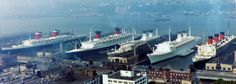 A rare site in the 1960's. Luxury liner row in Manhattan booming with ships. Left to Right; Unites States, France, Rafaello & Michelangelo, and Queen Mary. Taken sometime between 1965-1968 before QM was withdrawn from service. SSUS left service in 69, the Italian ships in the mid 70's.
