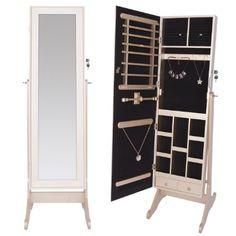 DXP Elegante Schmuckschrank Spiegelschrank Standspiegel Schmuckkasten Spiegel Champagne-Gold 142 cm JCYJ11