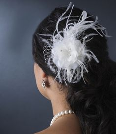 Feather Wedding Hair Flower Fascinator with Netting Accent  - On Sale! affordableelegancebridal.com $49.99 with Free U.S. Shipping!