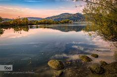 silence by mlatocha  Europe Poland beautiful blue clouds green lake light reflection silence sky summer travel tree trees
