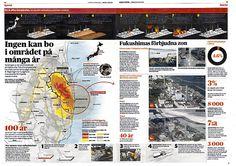 Japan 1 år sedan Tsunamin. Uppslag Dagens Nyheter. #nyhetsgrafik #infografik