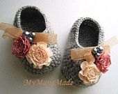 Flowery Beaded Gray Wool Crochet Baby Booties - 4 Sizes - 0-3mo, 3-6mo, 6-9mo, 9-12mo - Please Specify Size Upon Purchase
