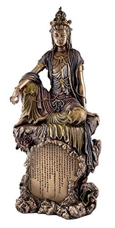 Top Collection Water and Moon Quan-Yin Bodhisattva Statue - Kwan Yin The Goddess of Mercy, Compassion, and Love Sculpture in Premium Cold Cast Bronze - Collectible Buddhist Figurine Black Buddha, Guanyin, Buddhism, It Cast, Sculpture, Statue, Goddesses, Collection, Oriental