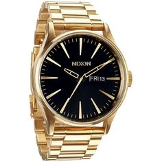 Nixon The Sentry Ss Watch ($250) ❤ liked on Polyvore featuring men's fashion, men's jewelry, men's watches and all gold black