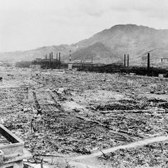 The atomic bomb that was dropped on Nagasaki had wiped out the entire city so nothing was standing but a few broken buildings.