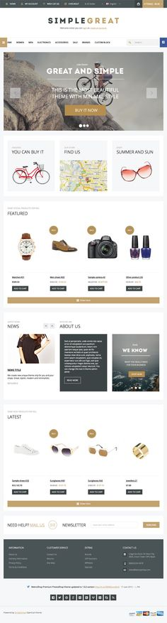 Buy SimpleGreat - Premium WordPress WooCommerce theme by dedalx on ThemeForest. SimpleGreat – Premium Responsive WordPress WooCommerce theme with Powerful Control Panel and Unlimited colors! Website Design Inspiration, Design Blog, Ecommerce Web Design, Mobile Web Design, Photoshop, Best Web Design, Startup, Email Design, Magenta