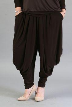 Pantaloni largi maro P007 -MM -  Ama Fashion