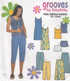 Simplicity 9778 Dress or Top Cropped Pants or Shorts & Skirt Sewing Pattern - Womens Girls Clothing Sewing Pattern - Uncut Sewing Pattern by SimplyCraftSupplies on Etsy