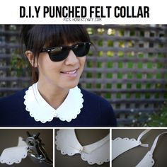 DIY Punched felt collar from HonestlyWTF, link to tutorial and DIY collar line-up at ScrapHacker.com
