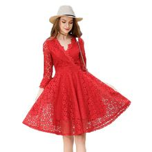 2017 New Lace Dresses Red Vintage A-line Three Quarter Knee-length Flare Sleeve V-neck Vestidos Mujer Party Dresses Elegant //FREE Shipping Worldwide //