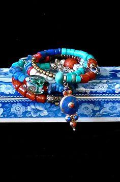 Boho Bracelet - Handmade Bracelet -  Multi strand Bracelet -TribalBracelet - Ethnic Memory Bracelet - Lapis - Turquoise - Gemstones -