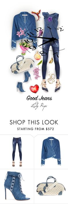 """""""Lady Jeans"""" by papillon-ze-cat ❤ liked on Polyvore featuring Dsquared2, Carolina Herrera, Marques'Almeida, Oscar Tiye, Louis Vuitton, Nine West and denimheadtotoe"""