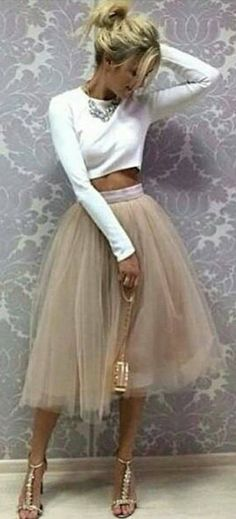 #summer #outfits  White Crop Top   Mocha Tulle Skirt