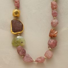 """EARTHBOUND TERRA FIRMA NECKLACE--A tourmaline necklace, in which nuggets of the gemstone -- one wrapped in 24kt gold -- seem just plucked from the earth.Nava Zahavihand strings them on silk with accents of gems and an 18kt gold bead. Matte 24kt goldplate on sterling silver hook clasp. Exclusive. Approx. 20""""L."""