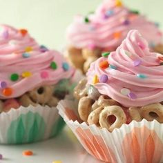 Try this fun twist on cereal bars that are shaped like cupcakes!