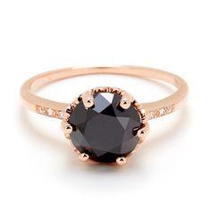 Prettiest rosegold ring with black diamond. Anna Sheffield Hazeline Black Diamond