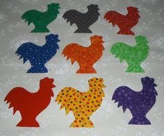 9 Easy to Use Bright Rooster Chicken Iron On by MarsyesQuiltShop, $10.95 ... I will ship appliques worldwide!