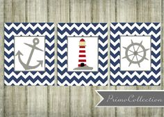 Nursery Wall Art Prints / nautical theme /  8x10 inch / trio / set of three / navy blue chevron / anchor /  baby boy / boy's room decor on Etsy, $42.00